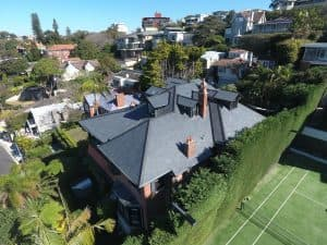 Looking back towards the house from above - Cwt-Y-Bugail Welsh Slate in Point Piper