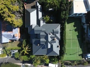 Top to bottom aerial view - Cwt-Y-Bugail Welsh Slate in Point Piper